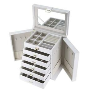 NEW SortWise Large Leather Jewelry Box Table Top Jewelry Chest 6 Layers and Removeable Drawers/White Condtion: New, W...