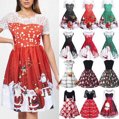 Fashion Womens Ladies Merry Christmas Lace Insert Santa Claus Print Party Dress ](Ladies Santa Dress)