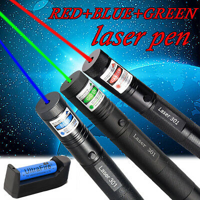 3PCS 50Miles Green&Red&Blue Zoom Laser Pointer Pen Visible Beam +18650 +Charger