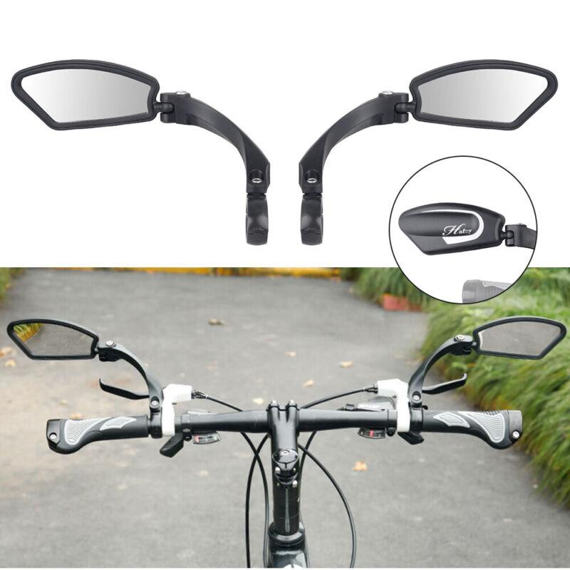 1 Pair Bicycle Bike Cycling Handlebar Rear View Rearview Mirror Rectangle Black