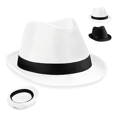 Beechfield Hut FEDORA Tribly Gangster Capone Schwarz Weiss - Fedora Hut Schwarz