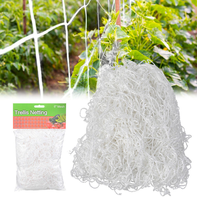 "15/30/60FT Heavy Duty Grow Trellis Netting 6"" Mesh Nylon Polyester Plant Support"