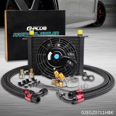 "For CAR/TRUCK 28ROW Thermostat Adaptor Engine Oil Cooler Kit + 7"" Electric Fan"