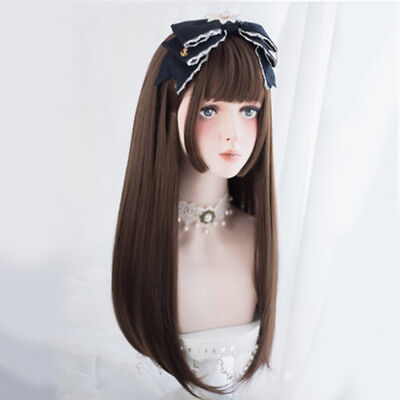 Damen Süße Lolita Lang Braun Pony Haar Partei Cosplay Perücke + Cap Halloween DE ()