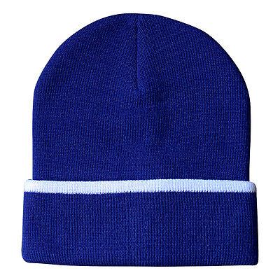 Hip-Hop Muetze Beanie Strickmuetze azurblau mit weißem Streifen 41655  (Blaue Hip-hop-mütze)