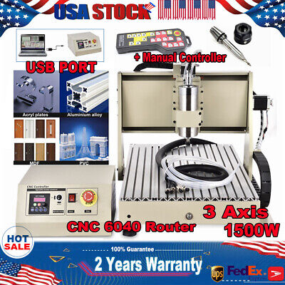 Usb 3 Axis 1.5kw 6040 Router Engraver Woodwork Mill 3d Machine Ballscrew Rc