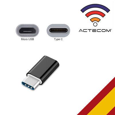 ACTECOM® ADAPTADOR NEGRO CABLE MICRO USB A TIPO C PARA SAMSUNG HUAWEI...