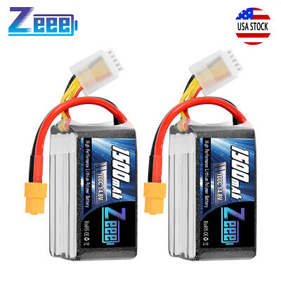 2x Zeee 1500mAh 100C 14.8V 4S LiPo Battery XT60 Plug for RC FPV Quad Drone Heli