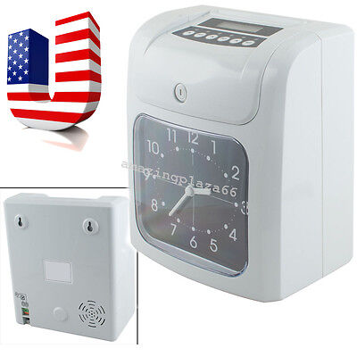 Electronic Employee Analogue Time Recorder Time Clock Lcd Wcard Monthlyweekly