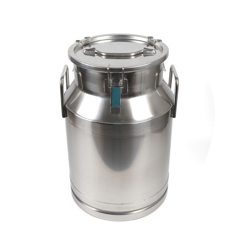30L Stainless Steel Milk Can Wine Pail Bucket Tote Jug for Heavy Restaurant Use
