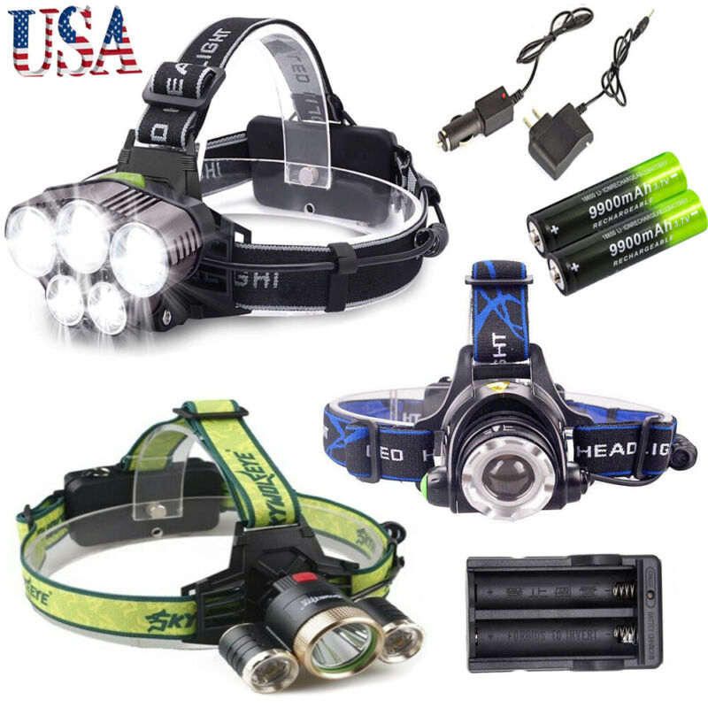 100000LM T6 LED Headlamp Head Torch 18650 Headlight Work Lig