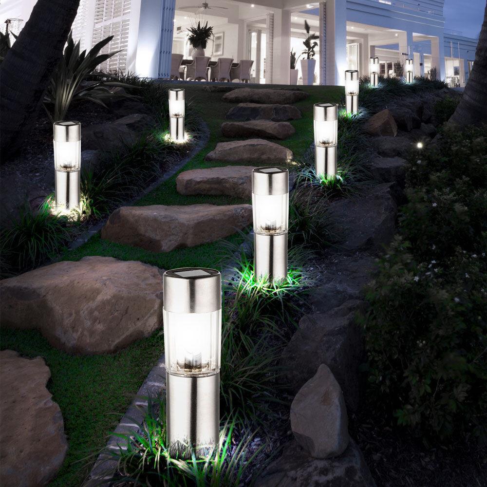 8 x LED SOLAR Stand Garten Steck Leuchten Edelstahl Deko Weg IP44 Außen Lampen