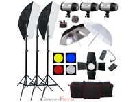 900W Flash Lighting Kit Set Studio Photography Strobe Light Portrait 3x300W