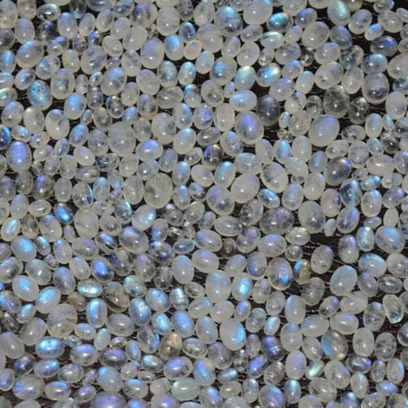 8x10 mm Oval Rainbow Moonstone Cabochon Loose Gemstone Lot 100 pcs