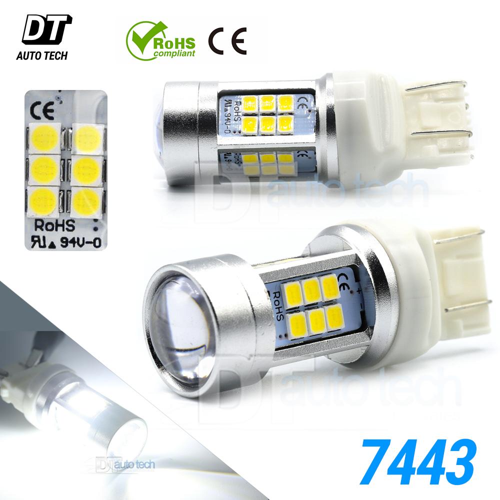 2X 40W 7443 T20 LED White Parking Brake Tail Stop Backup High Power Light Bulbs