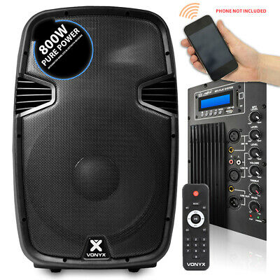 "B-Stock Vonyx 15"" Bluetooth Active Powered Speaker MP3 USB SD DJ PA Disco Party"