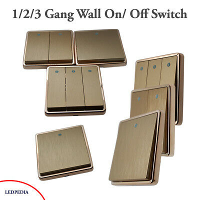 V10  Light Switch 1/2/3 Gang 2 Way Wall On/ Off Switch Gold Colour 1/3/5 Pack