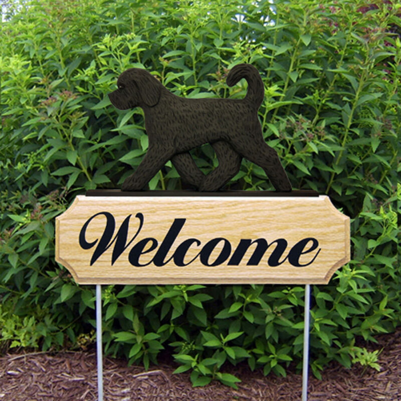 Goldendoodle Wood Welcome Outdoor Sign Black