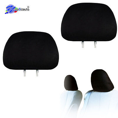 SOLID BLACK CLOTH CAR TRUCK SUV HEADREST COVERS WITH FOAM BACKING SET OF 2
