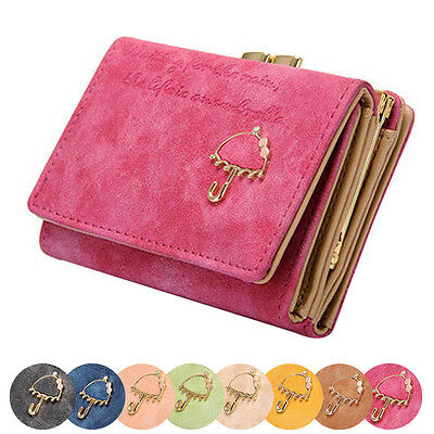 Women Lady Umbrella Leather Wallets Button Clutch Purse Girl Short ...