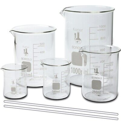 Glass Beaker Set W 2 Glass Stirring Rods 5 Sizes - 50 100 250 500 And 1l
