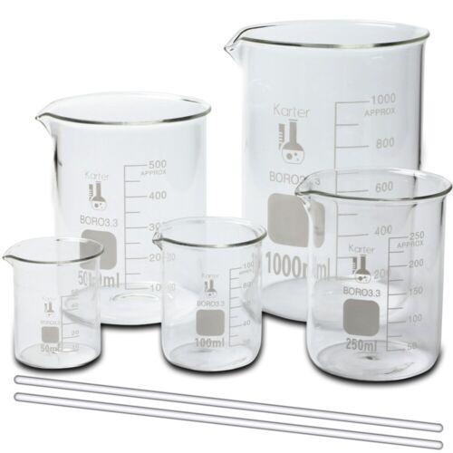 Glass Beaker Set w/ 2 Glass Stirring Rods, 5 Sizes - 50, 100, 250, 500, and 1L