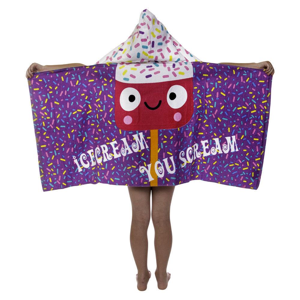 Kids Toddler Girls Ice Cream Hooded Poncho Towel Pool Beach