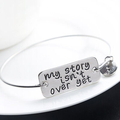 - My Story Isn't Over Yet Mental Health Suicide Awareness Silver Bangle Bracelet