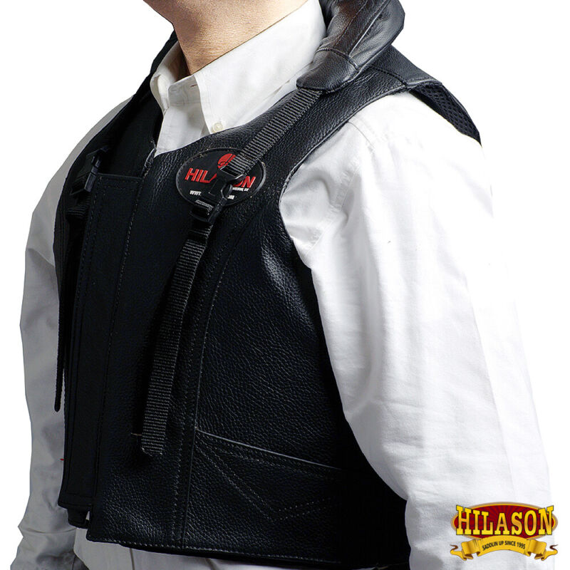 Equestrian Horse Riding Vest Safety Protective Hilason Leather U-01ND