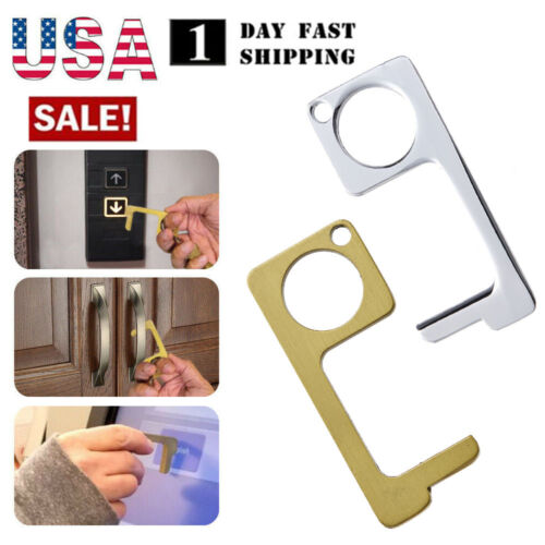 2PC Contactless Safety Door Opener Safe Protection No Touch Metal Key Opener Kit Building & Hardware