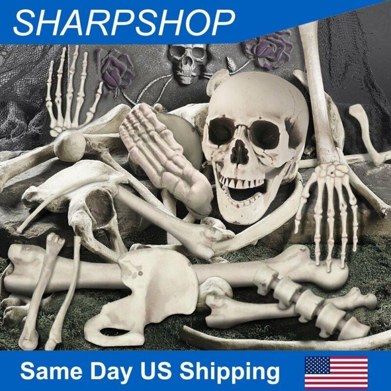 Scary Props Halloween Decor 35 Pcs Skeleton Bones Skull Graveyard Haunted Houses