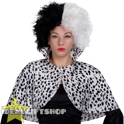 DALMATIAN PRINT CAPE LADIES PLUS SIZE FANCY DRESS ANIMAL COSTUME EVIL DOG (Animal Print Fancy Dress Kostüme)