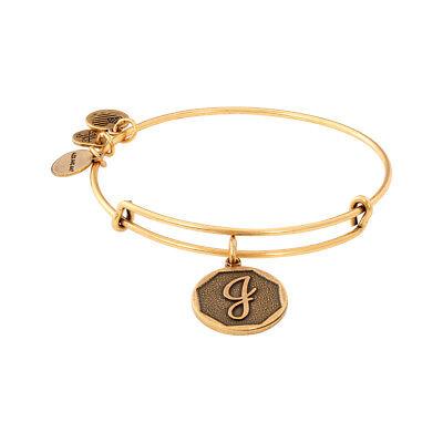 Alex And Ani Initial J Charm Rafaelian Gold Finish Bangle Bracelet A13eb14jg