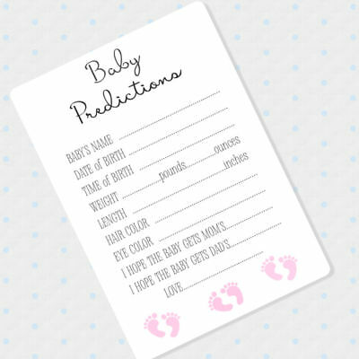 50 Baby Girl Prediction Cards, Baby Shower Advice Cards, Pink Shower - Baby Advice Cards