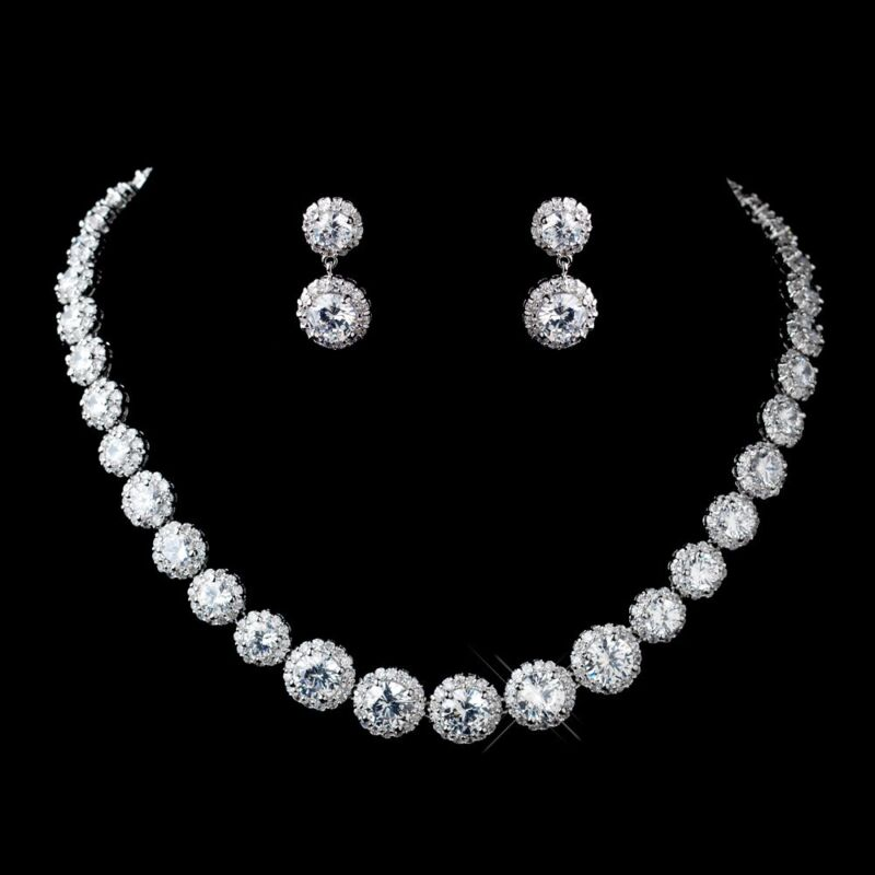BRIDAL JEWLERY SET Antique Silver Clear Round CZ Crystal Necklace & Earrings