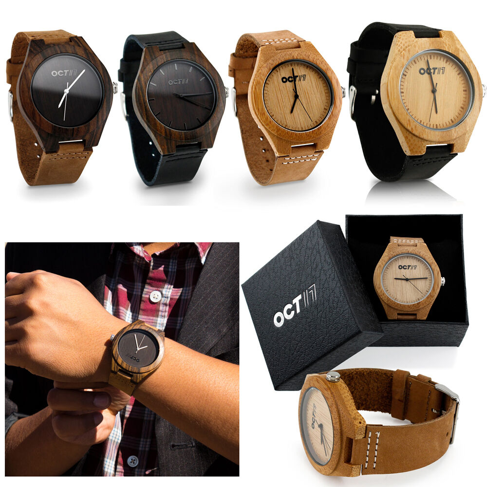 $19.99 - Luxury Men's Women's Bamboo Wood Watch Quartz Leather Wristwatches Fashion w/Box