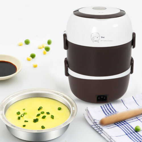3 Layer Lunch Box Portable Rice Cooker Steamer Stainless Ste