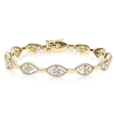 Eye Link Diamond Bracelet - 14K YELLOW GOLD PAVE 2.85C DIAMOND EVIL EYE CLUSTER LINK TENNIS BRACELET