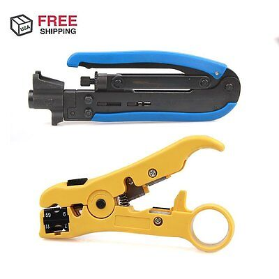 RG6 RG59 RG11 Coaxial Cable Crimper Compression Tool w Cutter Kit Wire Stripper