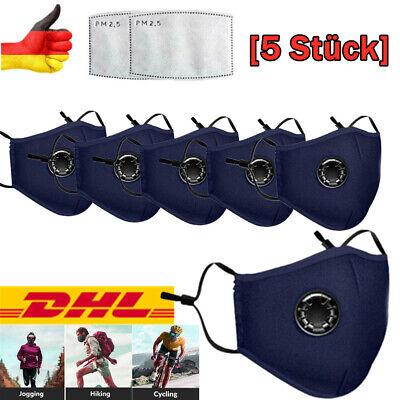 Maske Mundschutz 5X BLAU mit Ventil Aktivkohle +Frei Filter Waschbar Schutzmaske