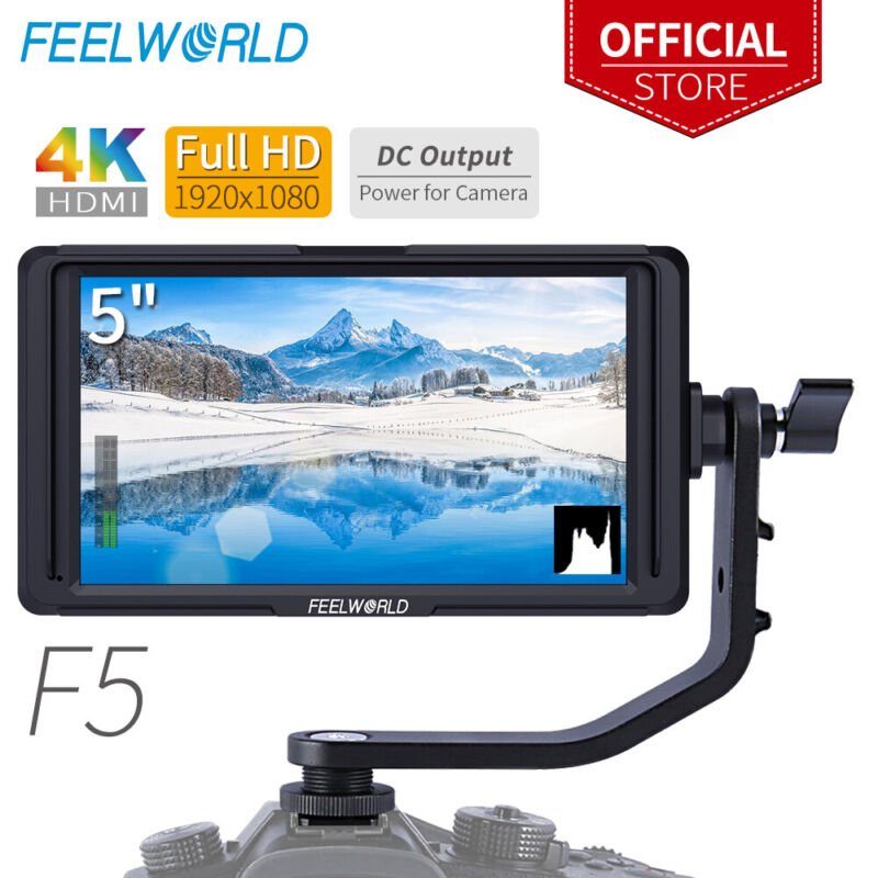 """FEELWORLD F5 5"""" HD 4K HDMI Camera Field Video Monitor with Tilt Arm for DJI"""