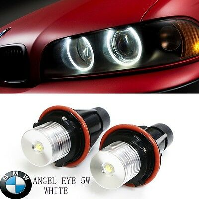 Light Bulb Rings - 2x BMW E39 E60 E87 X5 LED Angel Eye Halo Ring Marker Side Light White LED Bulb