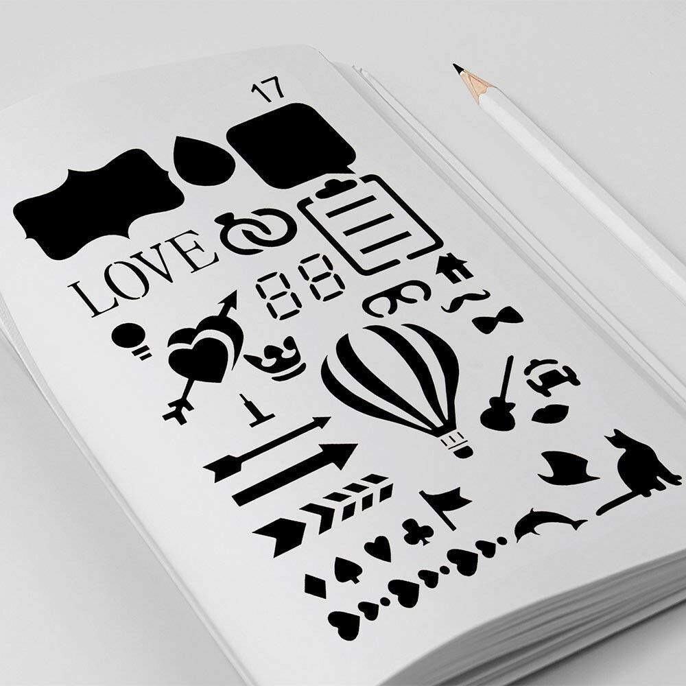 12pc/20pc Bullet Journal Stencil Plastic Stencils /Notebook/Diary/Scrapbook sy
