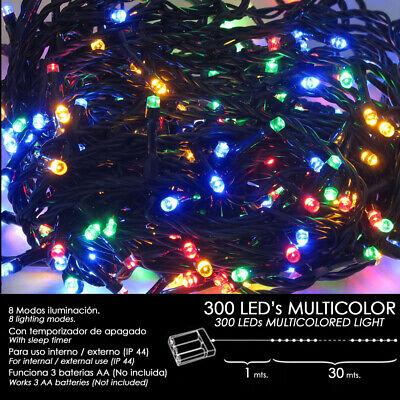 Luces Navidad 300 LEDS color jardín decoración pilas guirnalda exterior interior