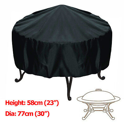 Pit Cover - 30-inch Patio Round Fire Pit Cover Waterproof UV Protector Grill BBQ Cover Black