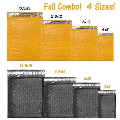 4 Sizes Orange Black Poly Bubble Mailer Combo Fall Holiday New Padded Envelope