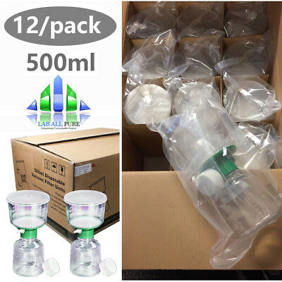 12pack Vacuum Filter Units 0.22m Pes Membrane 500ml Individually Sterile Lab