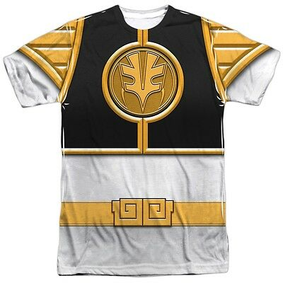Power Rangers White Emblem Logo Costume Outfit Uniform Sublimation Front T-shirt