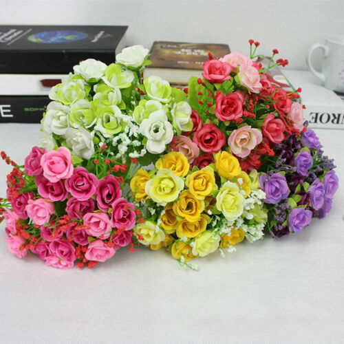 US Stock 21Pcs Artificial Fake Silk Flower Home Party Wedding Decoration Bouquet