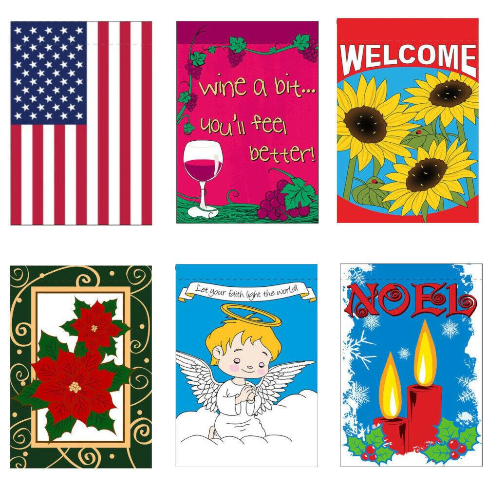 Garden Flag 12x18in Holiday Seasonal USA Sunflowers Christma